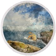 Digital Watercolor Painting Of Stunning Sunrise Landscape Image  Round Beach Towel