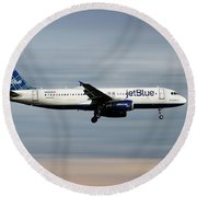 Jetblue Airways Airbus A320-232 Round Beach Towel