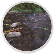 Long Exposure Photographs Of Rolling River With Fall Foliage Round Beach Towel