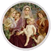 Madonna Of Giverny  Round Beach Towel