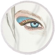 Portrait Illustration- Watercolor Painting Round Beach Towel