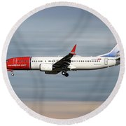 Norwegian Boeing 737 Max 8 Round Beach Towel