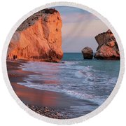 Playing At Aphrodite's Birthplace Round Beach Towel