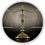 Scales Of Justice Dramatic Round Beach Towel