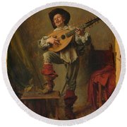 Soldier Playing The Theorbo  Round Beach Towel