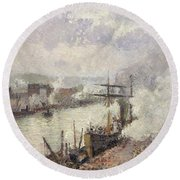 Steamboats In The Port Of Rouen  Round Beach Towel