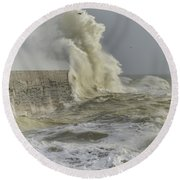 Stunning Dangerous High Waves Crashing Over Harbor Wall During W Round Beach Towel