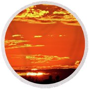 Sunset Reflection  Round Beach Towel