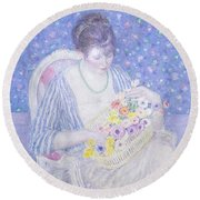 The Basket Of Flowers Round Beach Towel