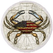 4th Of July Crab Round Beach Towel