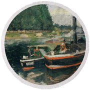 Barges At Pontoise  Round Beach Towel