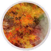 Digital Watercolor Painting Of Beautiful Colorful Vibrant Red An Round Beach Towel