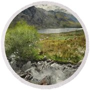 Digital Watercolor Painting Of Stunning Landscape Image Of Count Round Beach Towel