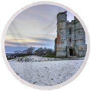 Donnington Castle - England Round Beach Towel