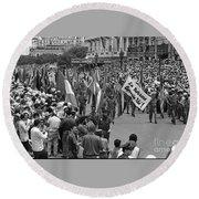 60th Anniversary Of Russian Socialist October Revolution Round Beach Towel