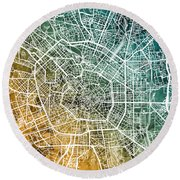 Milan Italy City Map Round Beach Towel