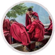 5 Monks On A Break Round Beach Towel