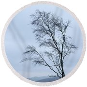 Moody Winter Landscape Image Of Skeletal Trees In Peak District  Round Beach Towel