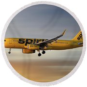 Spirit Airlines Airbus A320-232 Round Beach Towel