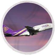 Thai Airways Airbus A380-841 Round Beach Towel