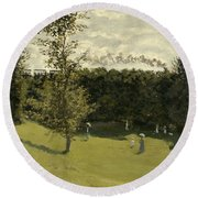Train In The Countryside  Round Beach Towel