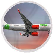 Vivaaerobus Airbus A320-232 Round Beach Towel