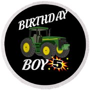 5 Years Old Birthday Design Green Tractor Gifdesign  Round Beach Towel