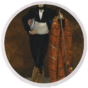 Young Man In The Costume Of A Majo  Round Beach Towel