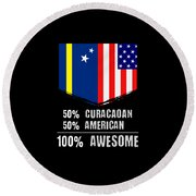 50 Curacaoan 50 American 100 Awesome Round Beach Towel