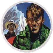 Hillary And Tensing In Front Of Mount Everest Round Beach Towel