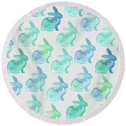 Watercolor Bunnies 1i Round Beach Towel