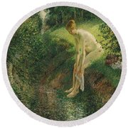 Bather In The Woods  Round Beach Towel
