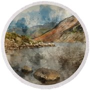 Digital Watercolor Painting Of Beautiful Sunset Landscape Image  Round Beach Towel