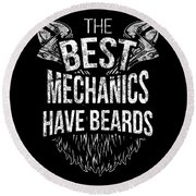 Funny Mechanic Beard Facial Hair Apparel Round Beach Towel