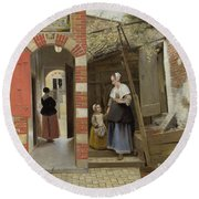 The Courtyard Of A House In Delft  Round Beach Towel