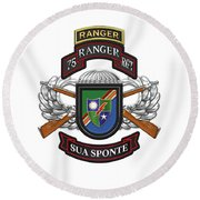 75th Ranger Regiment - Army Rangers Special Edition Over White Leather Round Beach Towel