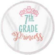 7th Grade Princess Adorable For Daughter Pink Tiara Princess Round Beach Towel