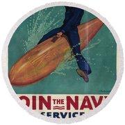 Wartime Propaganda Poster Round Beach Towel