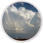 Prairie Storm Clouds Round Beach Towel
