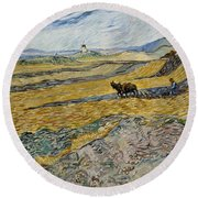 Enclosed Field With Ploughman -  Round Beach Towel
