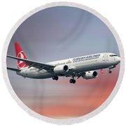 Turkish Airlines Boeing 737-9f2 Round Beach Towel