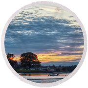 Danvers River Sunset Round Beach Towel
