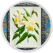 Orchid Framed On Weathered Plank And Rusty Metal Round Beach Towel