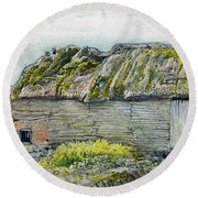 A Barn With A Mossy Roof, Shoreham - Digital Remastered Edition Round Beach Towel