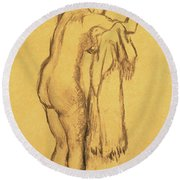 A Bather Drying Herself By E Degas Round Beach Towel