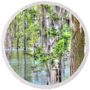 A Beautiful Day In The Bayou Round Beach Towel