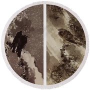 A Black Hawk And Two Crows Round Beach Towel