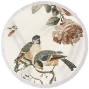 A Blue Tit And A Great Tit By Johan Teyler   1648  1709  2 Round Beach Towel