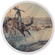 A Bucking Bronco, Edward Borein Round Beach Towel
