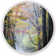 A Canopy Of Autumn Leaves Round Beach Towel